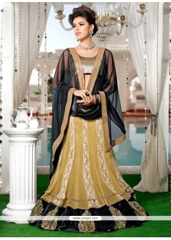 Intriguing Net Beige And Black A Line Lehenga Choli