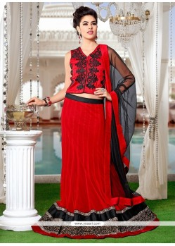 Aspiring Net Red Patch Border Work A Line Lehenga Choli
