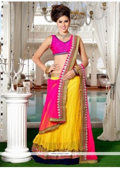 Sightly Net Hot Pink And Yellow A Line Lehenga Choli