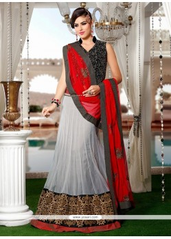 Lustrous Patch Border Work Off White And Red A Line Lehenga Choli