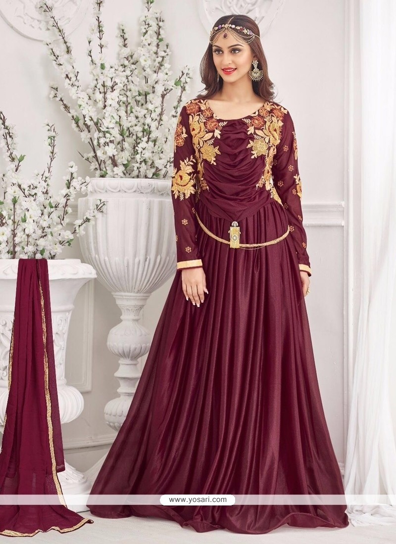 Luscious Maroon Lycra Lace Work Designer Gown