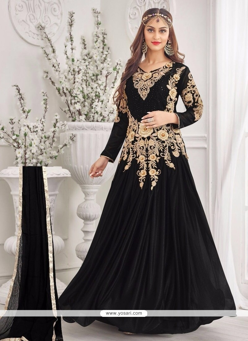 Lycra Black Lace Work Designer Gown