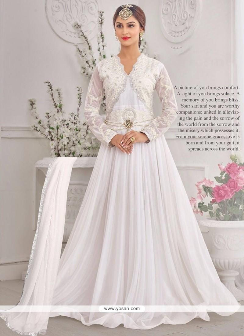 Latest White Embroidered Work Designer Gown