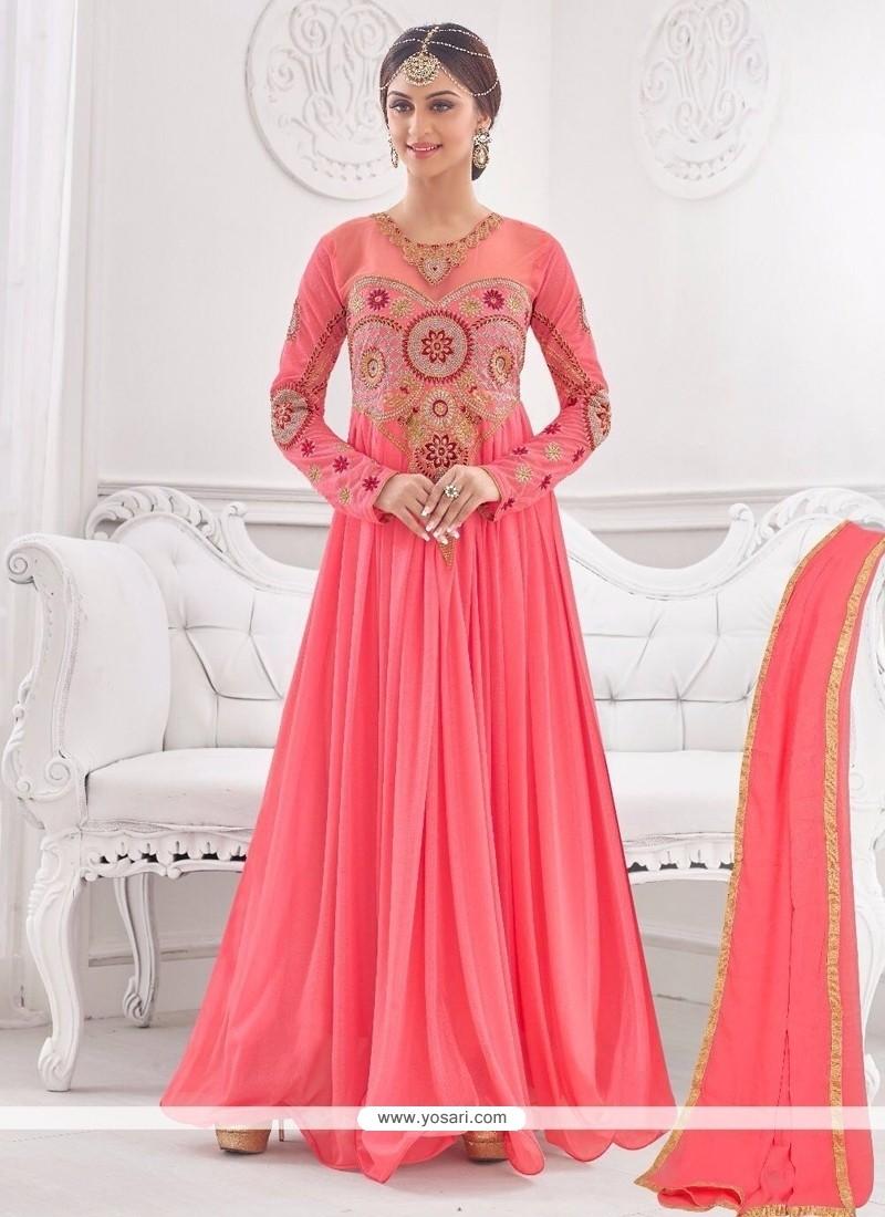 Mesmeric Pink Lycra Embroidered Work Designer Gown