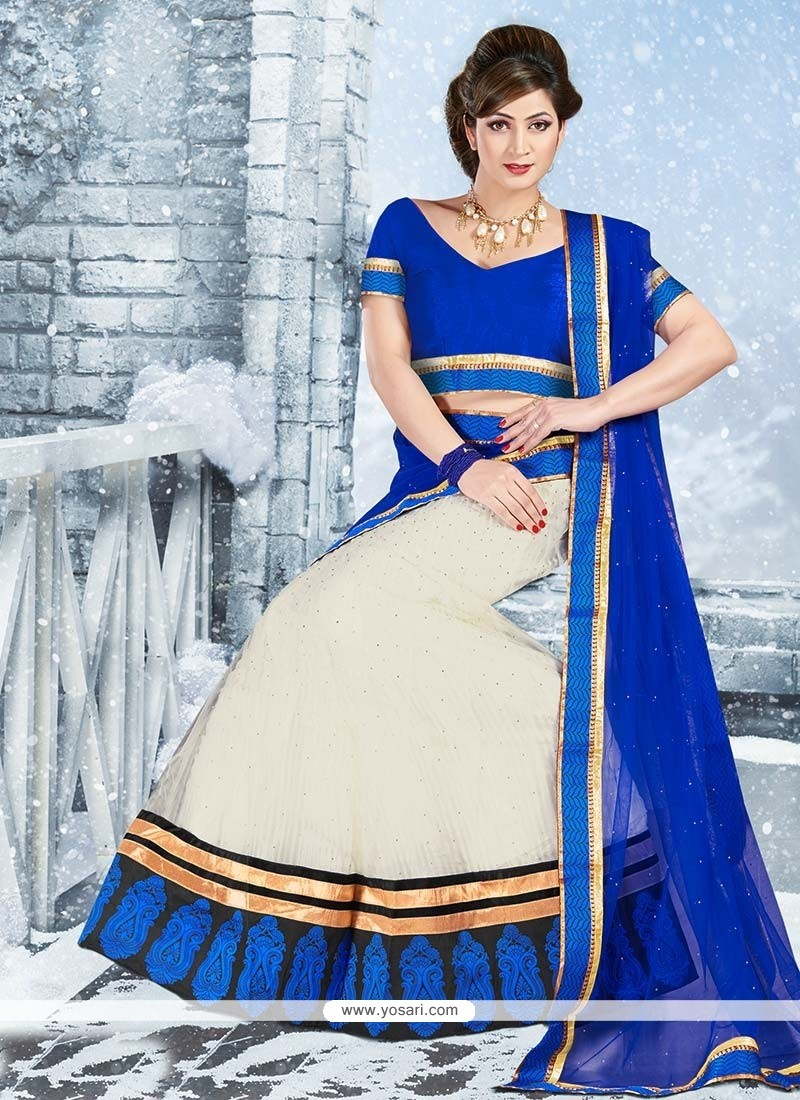Blue And Off White Embroidered Net Lehenga Choli