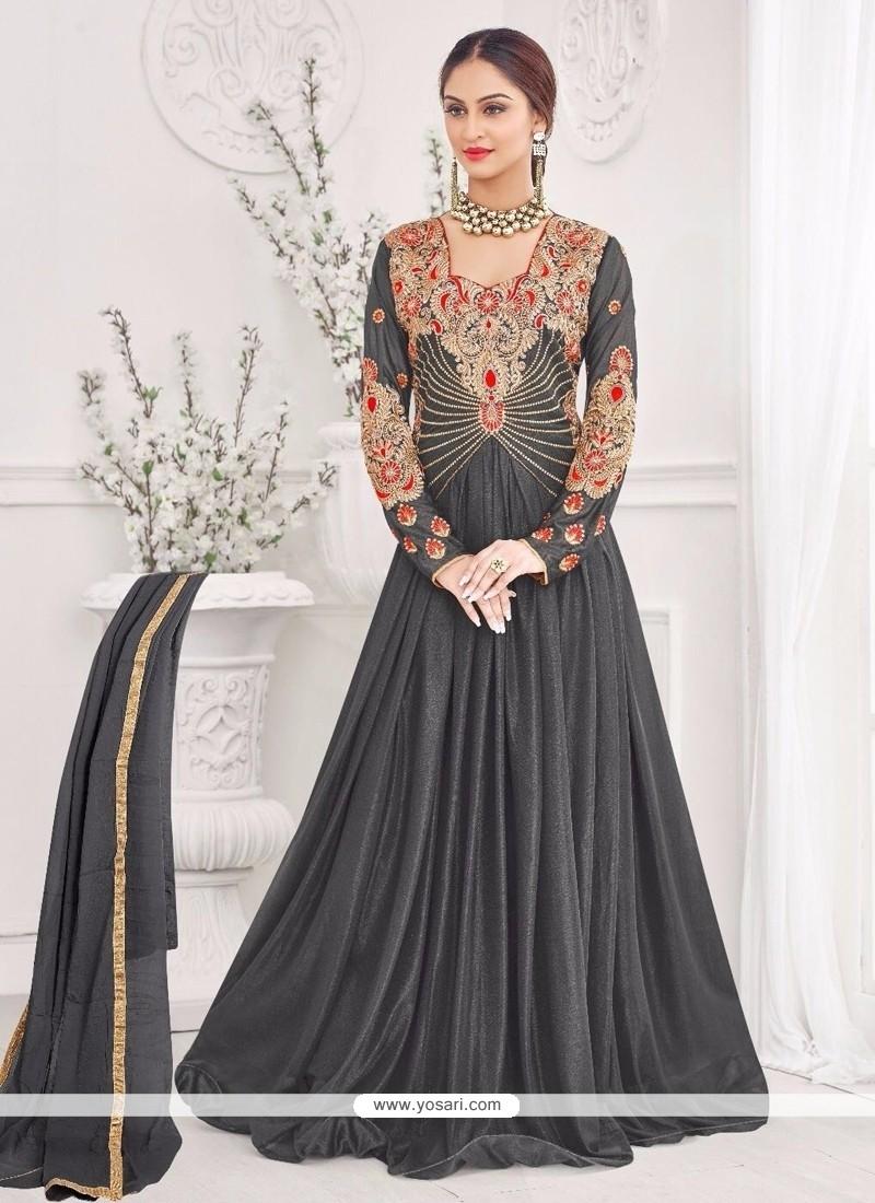 Charming Black Lycra Designer Gown