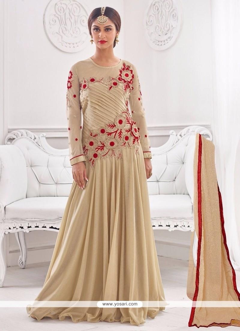 Eye-catchy Cream Embroidered Work Designer Gown