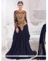 Navy Blue Lycra Lace Work Designer Gown