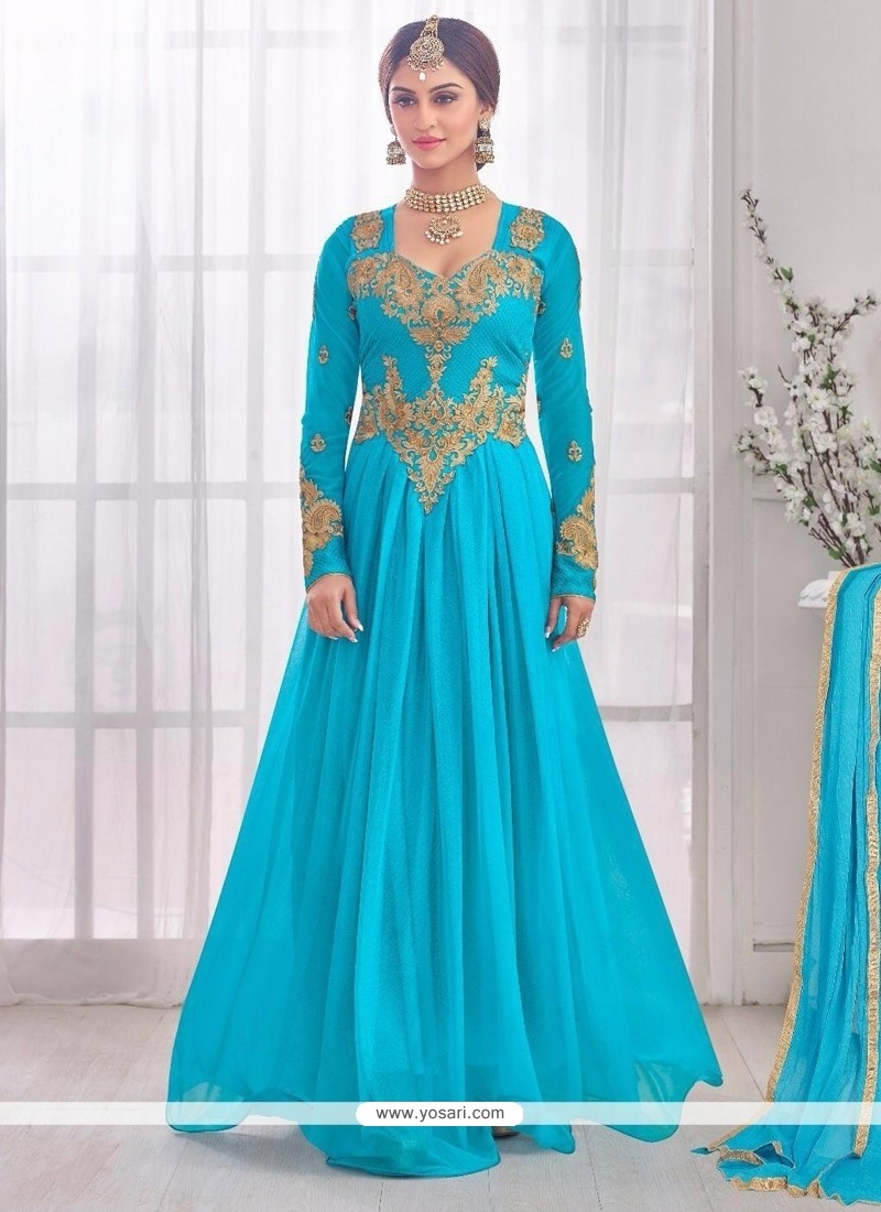 Turquoise Lycra Embroidered Work Designer Gown