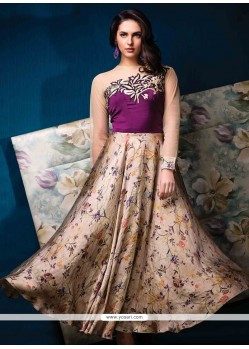 Gratifying Print Work Silk Multi Colour Designer Gown