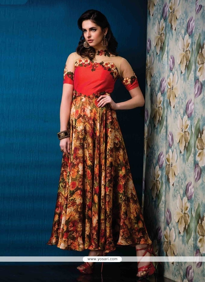 Multi Colour Net Designer Gown