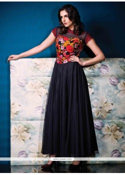 Prominent Multi Colour Print Work Designer Gown