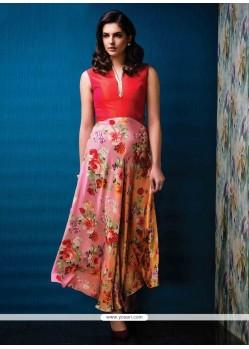 Beautiful Satin Print Work Designer Gown