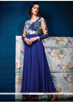 Dilettante Print Work Georgette Blue Designer Gown