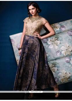 Distinctive Multi Colour Jacquard Designer Gown