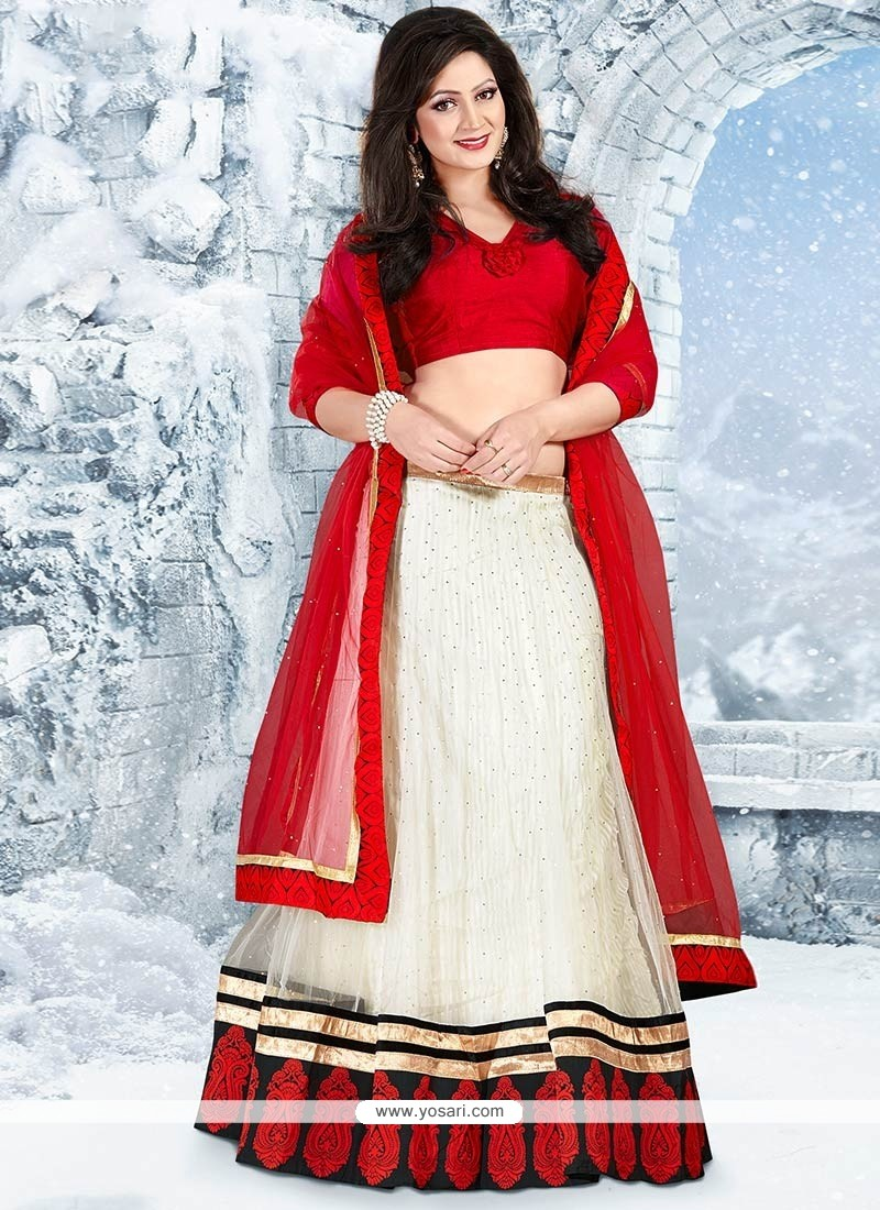 Red And Off White Patch Border Work Lehenga Choli