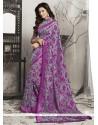 Grandiose Brasso Purple Lace Work Casual Saree