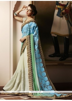 Genius Georgette Embroidered Work Designer Saree