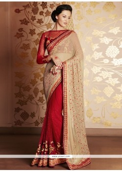 Engrossing Red Net Designer Saree