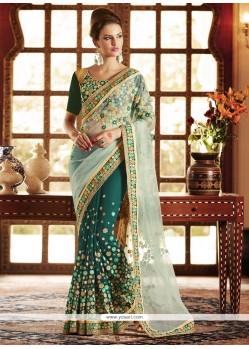 Subtle Net Green Designer Saree