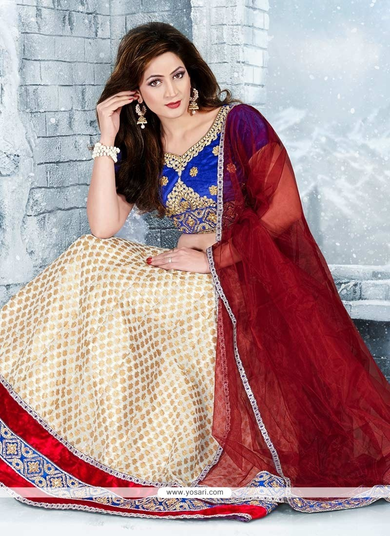 Maroon And Cream Patch Border Work Brocade Lehenga Choli