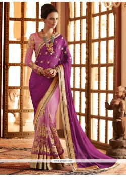 Competent Purple Patch Border Work Designer Saree