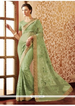 Floral Embroidered Work Green Designer Saree