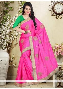Vivid Hot Pink Designer Saree