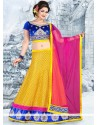 Fab Yellow Brocade Patch Border Work Lehenga Choli