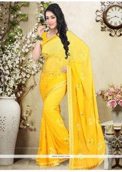 Impeccable Weight Less Embroidered Work Designer Saree