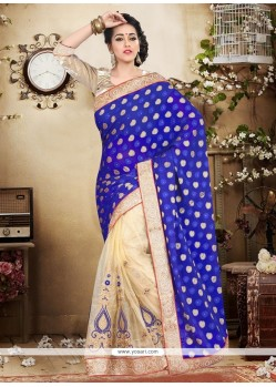 Orphic Patch Border Work Blue Designer Saree
