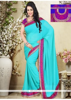Subtle Georgette Patch Border Work Designer Saree