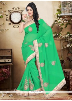 Impressive Sea Green Patch Border Work Weight Less Designer Saree