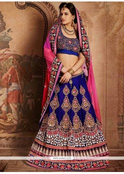 Charismatic Blue Zari Work Velvet Lehenga Choli