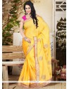Piquant Faux Chiffon Embroidered Work Designer Saree