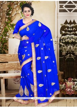 Ruritanian Faux Chiffon Blue Patch Border Work Designer Saree