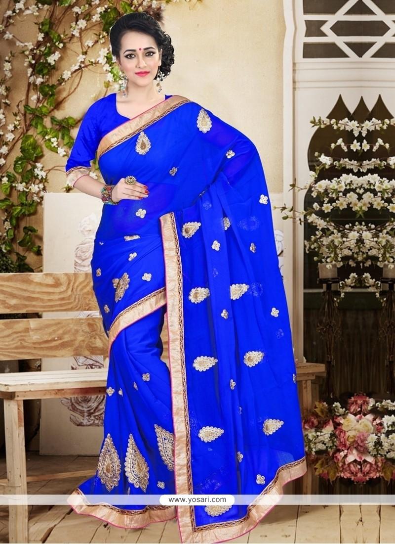 Ruritanian Faux Chiffon Blue Patch Border Work Designer Saree