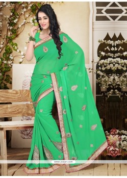 Exquisite Sea Green Faux Chiffon Designer Saree