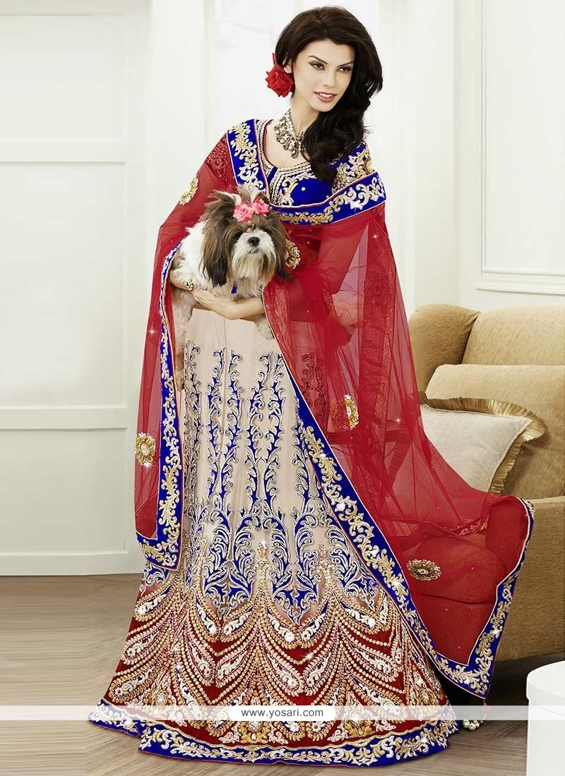 Beautiful Beige Resham Work Net Lehenga Choli