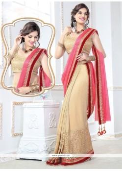 Exceeding Beige Net Designer Saree