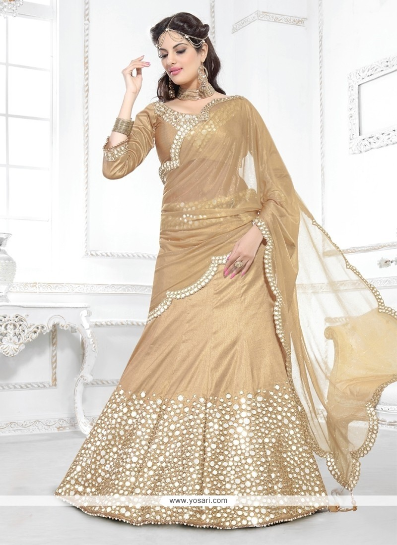 Preferable Beige Shimmer Georgette Lehenga Saree