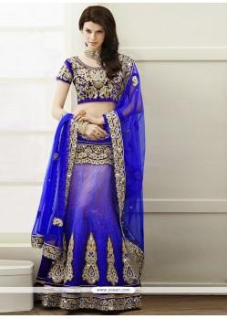 Amazing Blue Zari Work Brocade Lehenga Choli