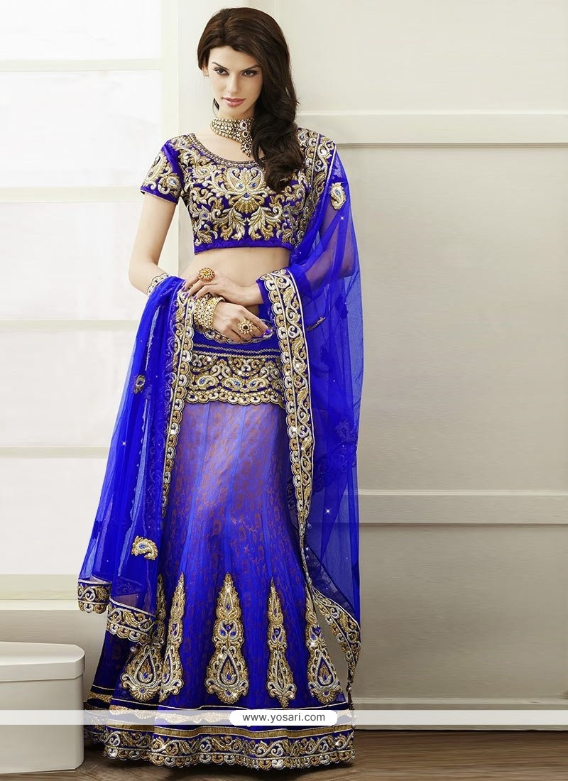 Amazing Blue Zari Work Brocade Lehenga Choli