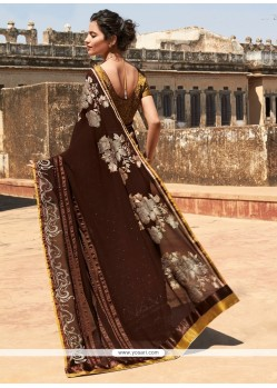 Breathtaking Georgette Brown Resham Work Designer Saree