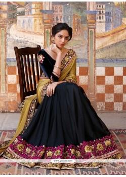 Surpassing Embroidered Work Black Designer Saree
