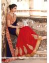 Floral Georgette Red Resham Work Designer Saree