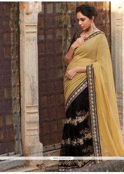 Impressive Resham Work Black Georgette Designer Saree