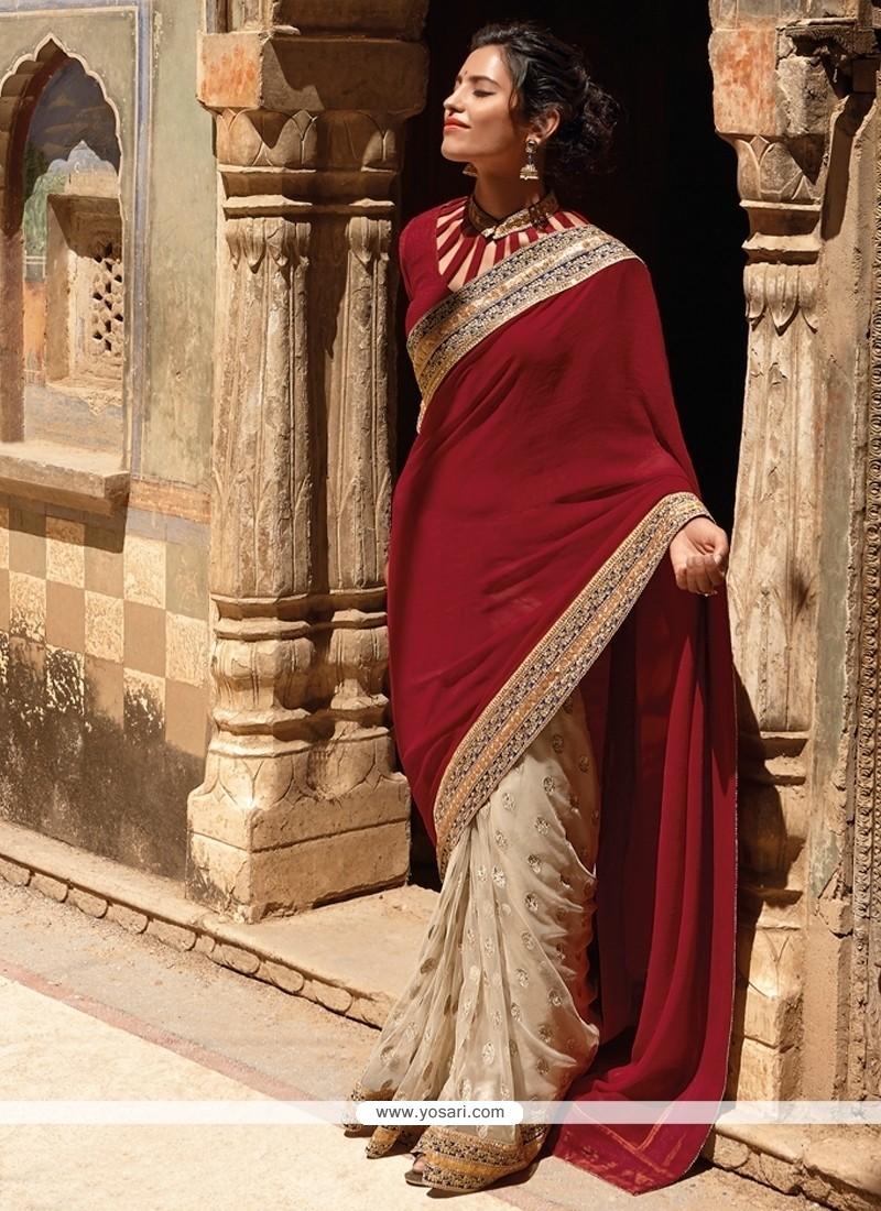 Mesmeric Patch Border Work Maroon Designer Saree
