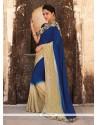 Outstanding Faux Chiffon Blue Designer Saree