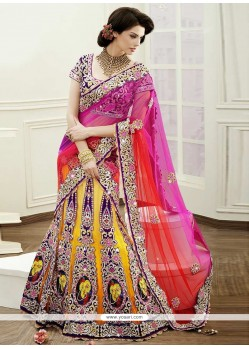 Graceful Yellow Crystal Work Net Lehenga Choli